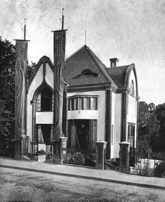 Behrens House was designed by Peter Behrens in 1899 when he was invited by Ernst Ludwig II to become the second member of the recently-inaugurated Darmstadt Artists' Colony. Peter Behrens was a leader in architectural reform, designed his house from the inside out—furniture, paintings towels etc. His house was partially destroyed during WWII but was rebuilt shortly after.