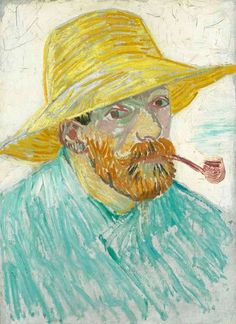 Vincent van Gogh - Self-portrait with pipe and straw hat, 1887. Van Gogh Museum, Amsterdam