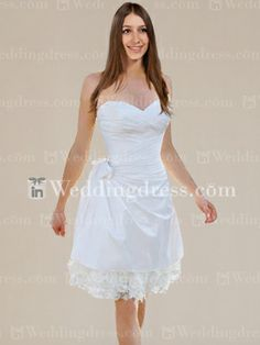 Taffeta Strapless Sweetheart Short Bridal Gown BC146