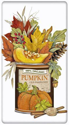 Pumpkin Can Of Autumn Leaves 100% Cotton Flour Sack Dish Towel Tea Towel