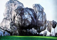 Christo and Jean Claude - Wrapped Trees, Fondation Beyeler and Berower Park, Riehen, Switzerland, Christo And Jeanne Claude, Art Et Architecture, Hybrid Art, Mystery, Elements Of Art, Environmental Art, Recycled Art, Art Plastique, Tree Art