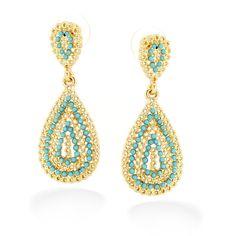 Taza-Gold-Tone Metal Filigree Turquoise Teardrop Stud Earrings