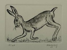 Hare Running Etching Art, Original Print Hare, Mad March Hare, Rabbit Hare Picture by PrintsByMaggieg on Etsy