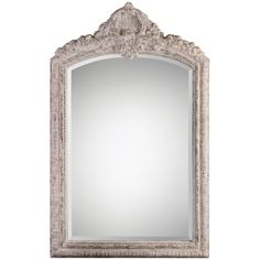 Uttermost Charente Aged Ivory Arch Mirror on sale. Bring a touch of elegance to your room with this ornate, arched frame finished in a classic, distressed aged ivory with rust gray undertones. Shabby Chic Living Room, Shabby Chic Interiors, Shabby Chic Kitchen, Shabby Chic Homes, Shabby Chic Style, Shabby Chic Furniture, Painted Furniture, Modern Furniture, Ornate Mirror