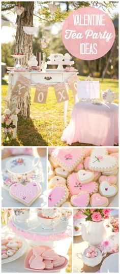 """A Valentine's Day """"Best Friend Par-tea"""" with fresh flowers, lace and antique china! See more party planning ideas at CatchMyParty.com!"""