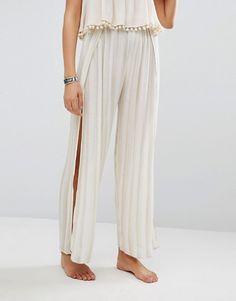Akasa | Akasa Stripe Thigh Split Beach Trousers