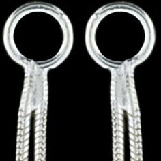 Silver earrings, double chain Silver earrings, Ag 925/1000 - sterling silver. Stud with friction back. A longer hanging double chain. Length approx. 80mm. Price per pair.