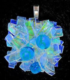 Fused Glass Pendant - Handmade Dichroic Jewelry by Firefly Glass Art