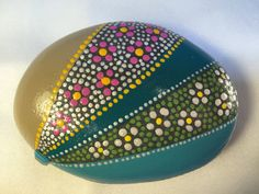 Painted Rock,Pink Flower,White Flower,Teal,Turquoise,Hand Painted Rock,Paper Weight,Stone Art,Striped,Dotted Rock,Home Decor,Rock Art,Art by RocknSpot on Etsy