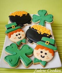 Super Cute St. Patty's Day Cookies by J'adore Cookies