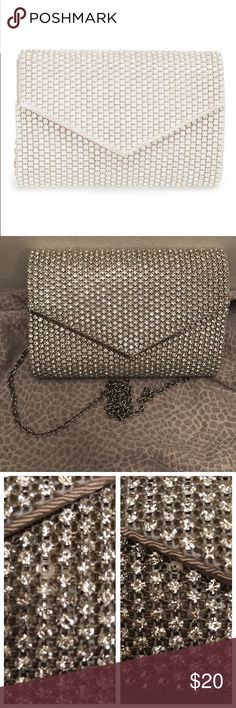 """Sole Society Crystal 'Isabel' Embellished Clutch New without tags Missing two jewels not noticeable  Color is like a cream nude crystal silver  Chain silver  Width 7.5"""" Height  5"""" Sole Society Bags Clutches & Wristlets"""