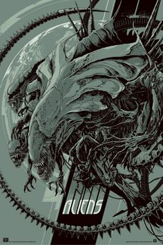 Ken Taylor's Aliens poster, glow-in-the-dark variant, 24″ x 36″ screenprint, edition of 30.