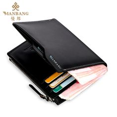 Guaranteed 100% + Genuine leather wallets MBQ9023B,Designer wallets +Famous brand Manbang + Free shipping $89.80