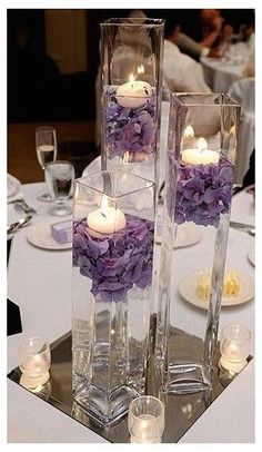 Non Flower Centerpieces, Purple Wedding Centerpieces, Purple Wedding Flowers, Floral Wedding, Centerpiece Ideas, Wedding Rustic, Trendy Wedding, Cheap Table Decorations, Tall Centerpiece