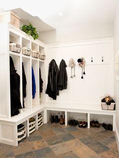 Mudroom with lockers - just need walk in coat closet