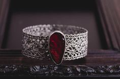 Sterling Silver Ruby Bracelet-Handmade Lace Bracelet-Vintage Inspired Ruby Bangle-Unique Bracelets-July Birthstone Jewellery-OOAK