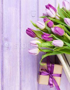 Purple tulips and gift box over wooden table stock photo (c) karandaev (#5435806) | Stockfresh