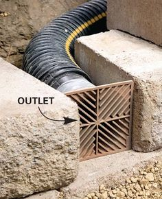 Add outlets at 16-ft. intervals  Then add outlets at about 16-ft. intervals. Cover the tubing with crushed stone. Then continue filling behind the wall with crushed stone as you build it.