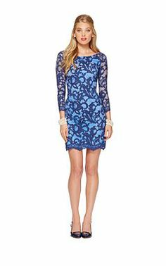 Party dress in blue, long-sleeved, mini length