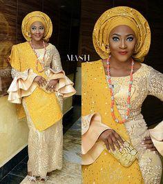 Embellishment ✨✨ @temijola, makeup and gele by @_m.a.s.h, Aso Oke by @aso_ebi_couture  #BellaNaijaWeddings