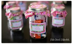 cute party favors...Slumber party sleepover birthday take home idea. Mason jar filled with hubba bubba bubble gum, lotion, sanitizer, nail polish, headband and chapstick :) Perfect for a tween birthday. Contact pbpolkdots for cusom labels, invites, party details www.palmbeachpolkadots.com