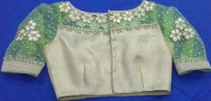 Banaras gold blouse with aplic work on net with elbow length hands 91 9866583602 whatsapp no 7702919644