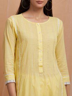 Yellow Mandarin Collar Handwoven Khadi Cotton Kurta with Asymmetrical Hem Neck Designs For Suits, Sleeves Designs For Dresses, Dress Neck Designs, Stylish Dress Designs, Blouse Designs, Simple Kurti Designs, Salwar Designs, Kurta Designs Women, Kurti Designs Party Wear