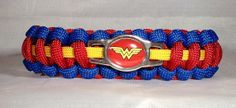 Custom Handmade Wonder Woman Paracord Bracelet Made with Hand Made Wonder Woman Charm Paracord Knots, Paracord Bracelets, Jewelry Bracelets, Survival Bracelets, Bracelet Making, Bracelet Watch, Paracord Projects, Besties, Handmade Jewelry