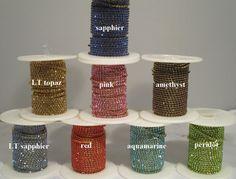 Hoge dichtheid 10 yards/Roll Goud base klauw ss6 2mm SS8 2.5mm SS10 2.8mm SS12 3mm rhinestone cup chain in 16 kleuren
