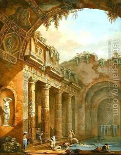 Interior of a Bath by Charles-Louis Clerisseau - Reproduction Oil Painting Most Famous Paintings, Classic Paintings, Historical Architecture, Ancient Architecture, Gothic Architecture, Ancient Ruins, Ancient Art, Mayan Ruins, Ancient Greek