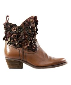 Another great find on #zulily! Tan Floral Spago Leather Boot #zulilyfinds