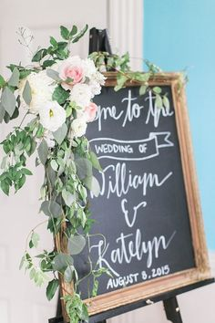 Dreamy outdoor wedding and romantic reception with vintage details at Belle Grove Plantation & Bed and Breakfast. Our vintage frame with hand-lettered chalkboard serves as a wonderful way to welcome guests! *Paisley & Jade Vintage & Eclectic Furniture Rentals for Events, Weddings, Theatrical Productions & Photo Shoots*