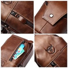 Men Genuine Leather Business Casual Chest Bags Shoulder Crossbody Bag