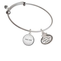 Keep Calm Super Girl is Here - Bible Verse John 3:16 Glass Dome Bangle Bracelet *** Be sure to check out this awesome product. (This is an affiliate link) #CharmsandCharmbracelets
