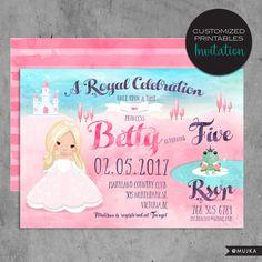 Custom Printable Fairy Tale Princess Invitations, Custom Pink Princess Birthday Party Invitation, frog prince, fairy tale, watercolor invite by MUJKA on Etsy