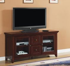 Bell'O TC60-1012-C244 Beaumont TV Stand for TV's up to 62 inches, Empire Cherry | Best Furniture Review
