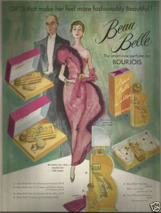 'Beau Belle' perfume by Bourjois was introduced in 1949 but never achieved the sales of its more famous cousin, 'Evening in Paris' Bourjois Perfume, Perfume Ad, Cosmetics & Perfume, Vintage Perfume, Perfume Bottles, L'artisan Parfumeur, 50s Vintage, Illustrations, Vintage Advertisements