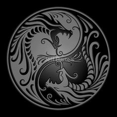 Yin Yang Dragons Gray and Black by Jeff Bartels