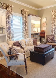 I love the toile but I REALLY love that the curtains are hung on short rods above the windows. If you never intend to close the curtains, why would you need rods that span the width of the window? I never thought of that. GREAT IDEA!