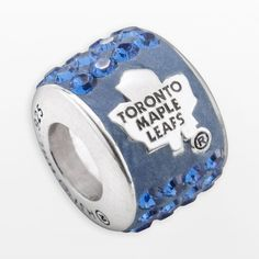 LogoArt Toronto Maple Leafs Sterling Silver Crystal Logo Bead - Made with Swarovski Crystals, Blue Crystal Bracelets, Crystal Jewelry, Sterling Silver Jewelry, Beaded Jewelry, Silver Jewellery, Blue Crystals, Swarovski Crystals, Toronto Maple Leafs Logo, Crystal Logo