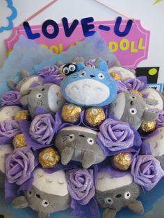Totoro Plush Doll with Soot Spirit & Ferrero Rocher Chocolate Flower Bouquet. Perfect for crazy Japanese cartoon fans! $65 USD