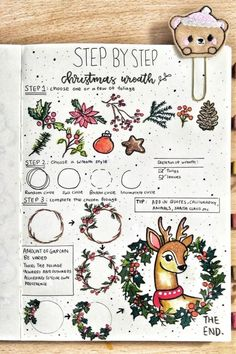 Step By Step Bullet Journal Doodle Tutorials - Crazy Laura Looking to add some doodles to your christmas spread? This tep by step tutorial will help you get started! Bullet Journal A6, Bullet Journal Christmas, December Bullet Journal, Bullet Journal Aesthetic, Bullet Journal Writing, Bullet Journal Themes, Bullet Journal Inspiration, Christmas Doodles, Christmas Drawing