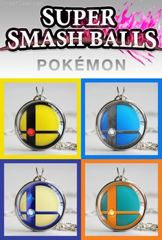 Super Smash Ball pendants of the Pokemon fighters Pikachu, Lucario, Greninja and Charizard! #SmashBalls #SSB #TrinketGeek