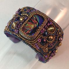 Bead Embroidered Cuff Noble Purple by JFritchenJewelry on Etsy