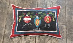 Wool applique Christmas Blessings pillow in series by Pastime Pieces. Finished size: x Christmas Blessings, Wool Applique, Blessed, Joy, Throw Pillows, Quilts, Sewing, Pattern, Inspiration