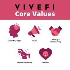 At Vivefi, we believe in and live by our core values. 1.) Loving the process 2.) Be daring 3.) Stay honest and transparent 4.) Celebrate diversity 5.) Have fun! www.vivefi.com