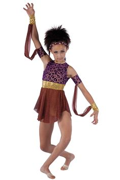 15528 The Hunt | Lyrical Contemporary Dance Costumes | Dansco 2015 |Purple glitter printed flocked mesh and gold spandex leotard with gold sequin on spandex insert. Attached chocolate glitter printed mesh skirt. Gold metallic spandex binding trim. Pinterest Keywords: The Lion King Disney Jungle