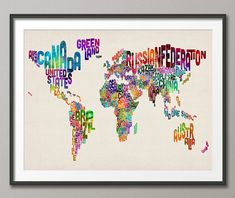 Typographic Text Map of the World Map Art Print 18x24 by artPause, £14.99- This is awesome!