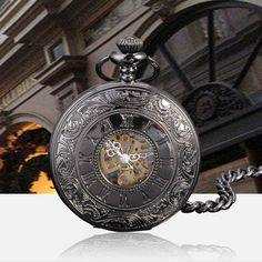 AK-Homme-Black-Mens-Mechanical-Pocket-Watches-Leather-Protector-Gift-Sets-New