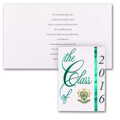 Class Colors Graduation Announcement - Green  | 3 COLOR OPTIONS  |  http://mediaplus.carlsoncraft.com/Graduation/Announcements/GYCC-GYG260-Class-Colors--Announcement--Green.pro